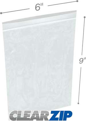 6 x 9 High Clarity Zipper Locking 2 Mil  Polypropylene Bags