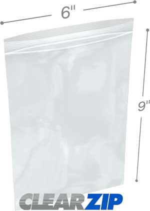 6x9 3 mil clear zip reclosable bags