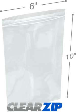 6x10 Clearzip® Lock Top 4 Mil Bags