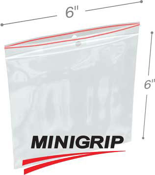 6x6 4Mil MiniGrip Reclosable Plastic Bags with Hang Hole