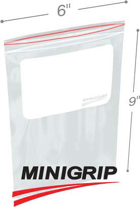 6x9 4Mil Minigrip Reclosable Plastic Bags with Whiteblock
