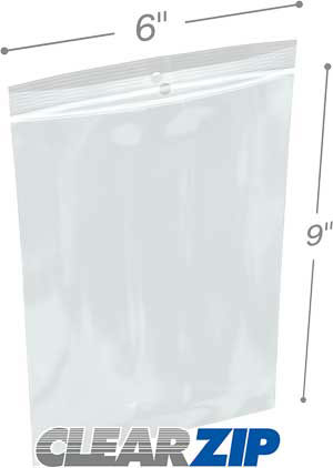 6 in x 9 in Hang Hole 2 Mil Clearzip® Lock Top Bags