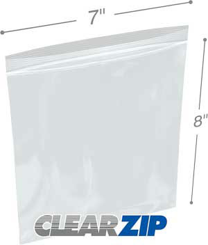 7 x 8 Clearzip® Lock Top 2 Mil Bags