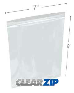 7 x 9 High Clarity Zipper Locking 2 Mil  Polypropylene Bags