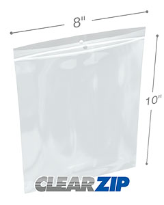 8 x 10 Hang Hole Zipper Locking 2 Mil  Polypropylene Bags
