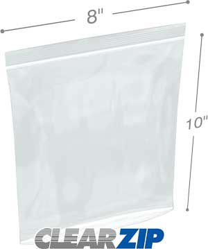 8 x 10 Tamper Evident Reclosable Bags