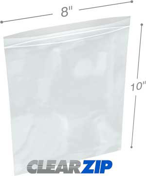 8 in x 10 in 2 Mil Clearzip® Lock Top Bags