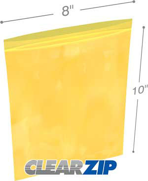 8x10 yellow zipper bags