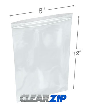 8 x 12 Clearzip® Lock Top 2 Mil Bags