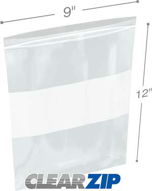 9x12 White Block Zipper Lock Bags