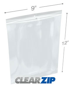 9 x 12 Hang Hole Zipper Locking 2 Mil  Polypropylene Bags