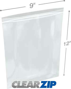 9x12 1.25 mil clear zip reclosable bags