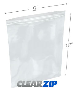 9 x 12 Clearzip® Lock Top 2 Mil Bags