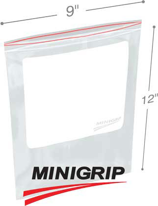 9x12 4Mil Minigrip Reclosable Plastic Bags with Whiteblock