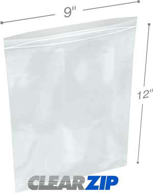 9x12Clearzip® Lock Top 4 Mil Bags